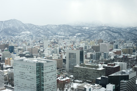 The city of Sapporo as viewed in winter, Hokkaido, Japan