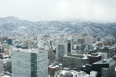 The city of Sapporo as viewed in winter, Hokkaido, Japan