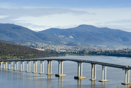 tasmania: The Tasman bridge crossing of the Derwent river, Hobart, Tasmania, Australia