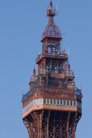 Top of the historic victorian Blackpool Tower which is a popular tourist attraction and member of the World Federation of Great Towers