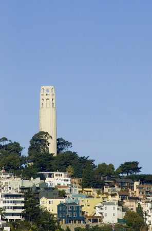 telegraph hill: The coit tower stands on top of one san franciscos many hills