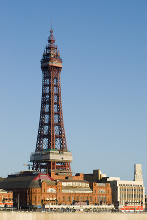 Blackpool Tower, Blackpool, England is a Victorian steel lattice tower on the waterfront of the town and a well known historical landmark