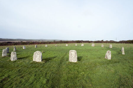 nineteen: The Merry Maidens Stone Circle in Cornwall one of the best preserved Neolithic circles in Cornwall with nineteen granite megaliths