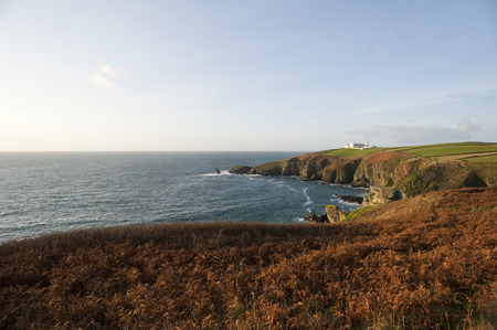 mainland: Lizard Point in Cornwall, UK with the historical Lizard Point Lighthouse , the most southerly point on mainland Great britain Stock Photo