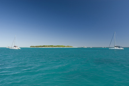 barrier island: Idyllic little island in the middle of the Great Barrier Sea with two sailboats in the foreground