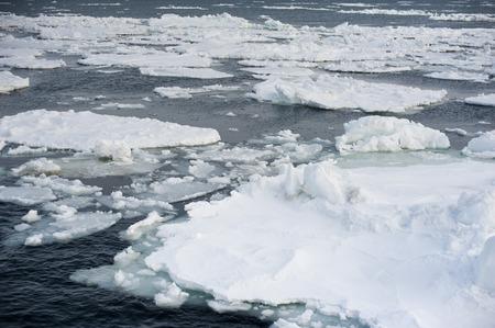 drifting ice: Floating pieces of the Abashiri ice drift in cold ocean near Hokkaido Japan Stock Photo