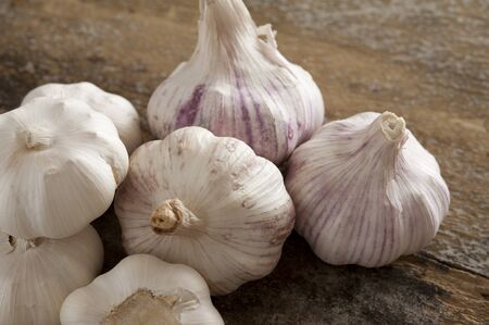 pungent: Group of fresh garlic bulbs for use as a pungent aromatic seasoning in cookery lying on a wooden table Stock Photo