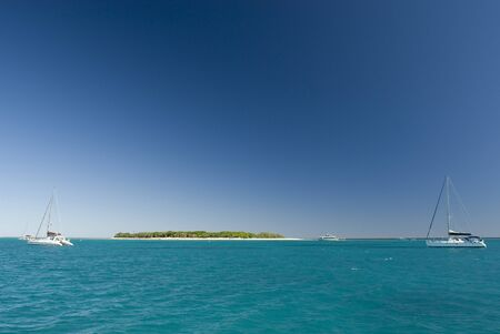 barrier island: View of Lady Musgrave Island in Australia, the second of the islands on the Great Barrier Reef and a popular camping destination for tourists Stock Photo