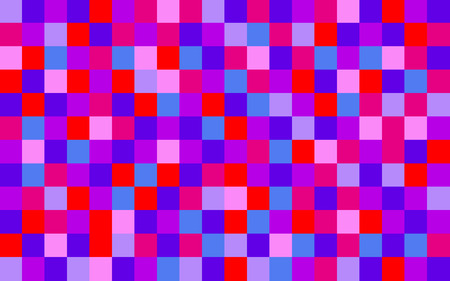 Close up of background composed of a red pink purple and blue schemed pixel pattern