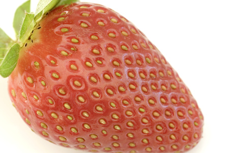 Luscious whole fresh ripe red strawberry macro over a white background showing the achenes on the skin Stock Photo