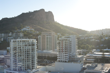 hinterland: Modern high-rise architecture in downtown Townsville, Queensland, Australia on a bright sunny summer day with a rooftop view across the city Editorial