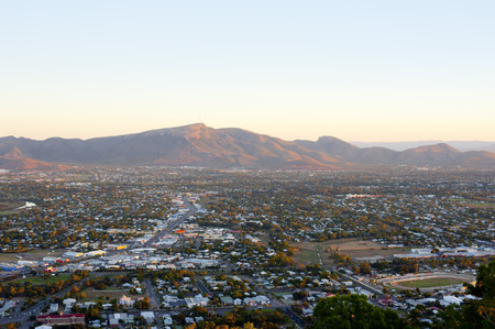 View over Townsville to Mount Stuart in Queensland, Australia in the Australian hinterland an area of agriculture and mining