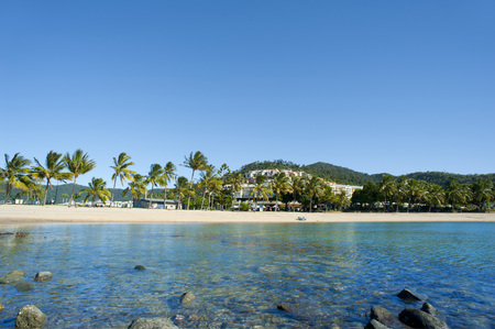 Tranquil view of Airlie Beach, Queensland, Australia across a rocky shoreline and calm ocean to the tropical beach with palm trees and resort buildings