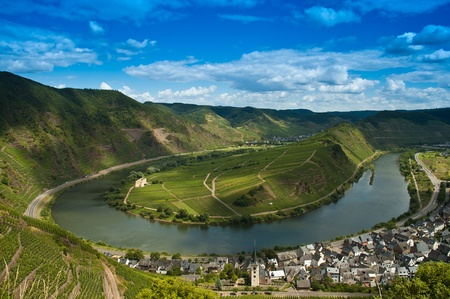 The german river moselle with a loop Stock Photo