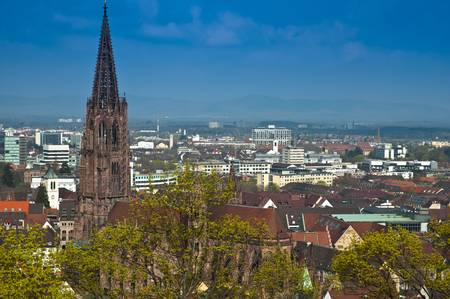 View on the city of Freiburg and the minster