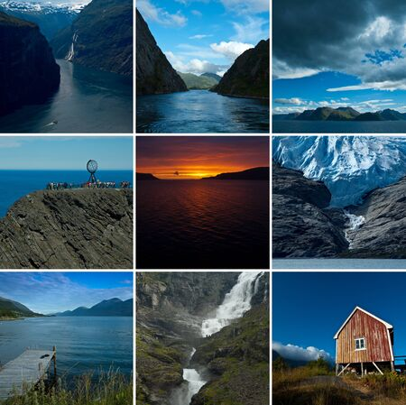 Collage Norway Landscapes Stock Photo