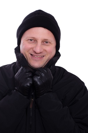 bobble: A smiling man with bobble cap and leather gloves Stock Photo