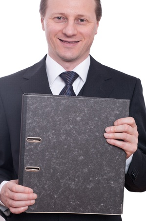 taxman: Man in a suit is laughing and holding a file in his hands