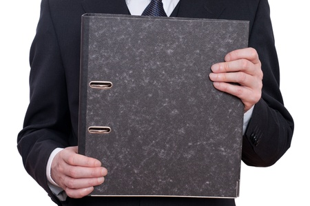 taxman: Man is holding a file with his two hands