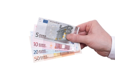 Hand is holding euro notes