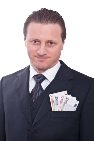 A man in a suit with euro notes in his pocket Stock Photo - 12010714