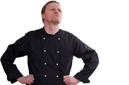 free thought: A man as cook is looking up