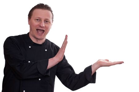 A man as cook is laughing and is holding his hands beside Stock Photo - 12533686
