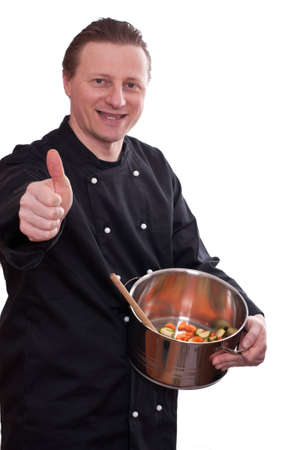 uphold: A smiling cook with a pot is holding his thumb up