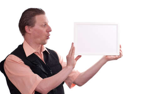 glimpse: A male photographer is holding a white blank picture frame with his hands