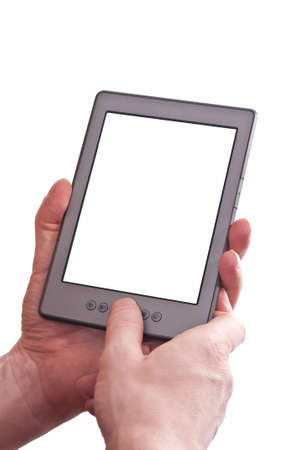 Two hands of a man are holding a blank ebook reader