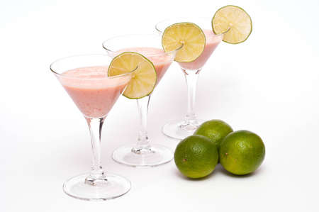 citrous: Three cocktail glasses with buttermilk, lime and papaya Stock Photo