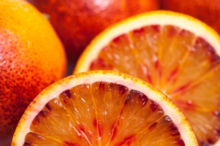Close-up of several blood oranges photo