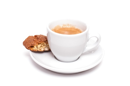 Cup of espresso coffee with cantuccini pastries photo