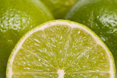 citrous: Closeup of sliced green lime Stock Photo