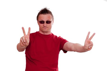 threatened: Threatened man with sunglasses is showing the hand signal for peace Stock Photo