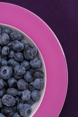 tonal: Close up of tonal bilberries, plate and tablecloth
