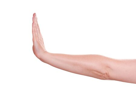 White isolated profile of the hand sign stop Stock Photo - 14646838