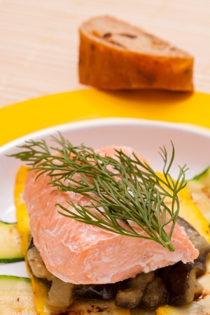 Close up of steamed salmon with dill photo