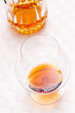 amber coloured: Old Brandy de Jerez in a glass