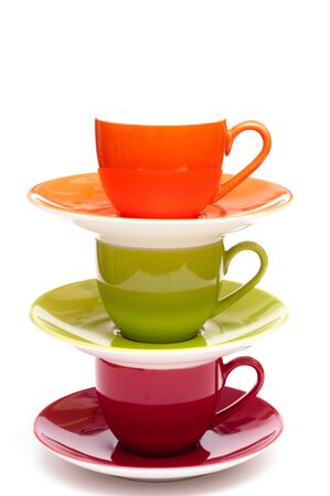 thee: Thee coloured espresso cups with saucers