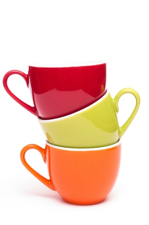 Coloured stacked coffee cups photo