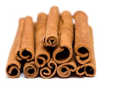 Cinnamon sticks on a white background