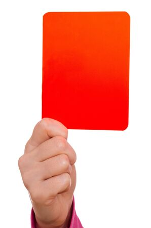 show off: Female hand is showing a red card
