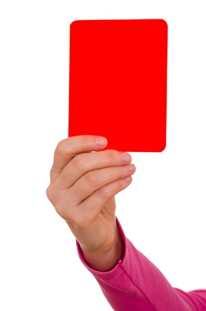 Female hand is showing a red card photo