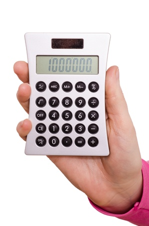 Hand is holding a pocket calculator and displaying one million Stock Photo - 17847736