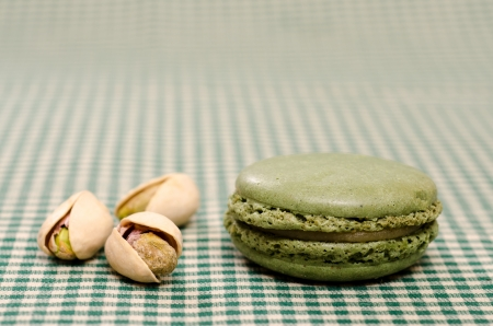 speciality: French speciality green Macaron with pistachios Stock Photo