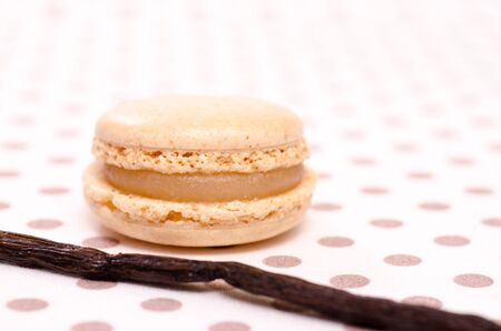 speciality: French speciality of beige macaron with flavour of vanilla Stock Photo