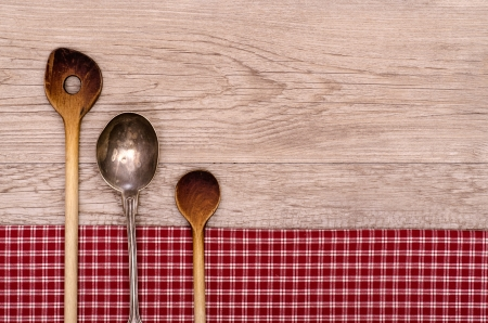 Wooden and silver spoon on a wooden board with text space photo