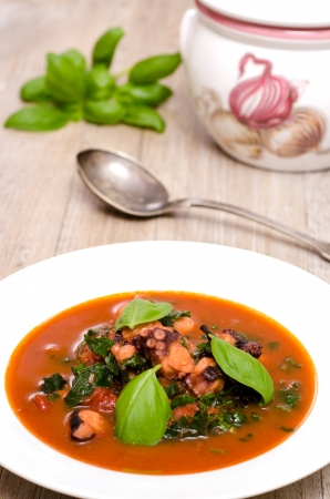 Plate with stewed squid with basil and a spoon photo