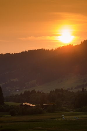 allgau: Evening sun in the allgau alps in Tirol Austria Stock Photo